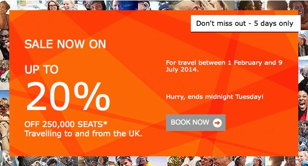 Easyjet Flight Sale now on - with up to 20% off flights to and from the UK