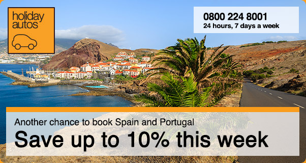 Save up to 10% extra on car hire in Spain and Portugal in Holiday Autos Sale